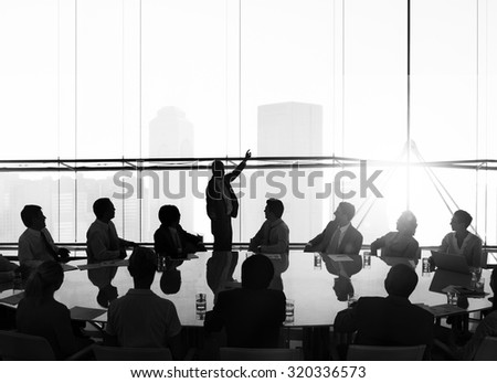 Silhouette Business People Conference Cityscape Concept - stock photo