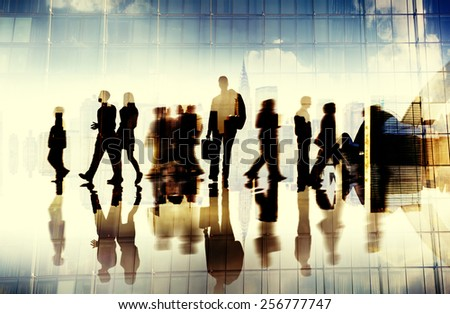 Silhouette Business People Traveling Cityscape Commuter Concept - stock photo