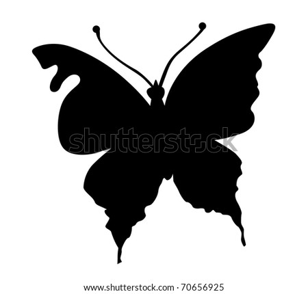 silhouette butterfly on white background - stock photo