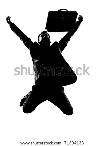 silhouette caucasian business man  expressing winning winner energy success  full length on studio isolated white background - stock photo