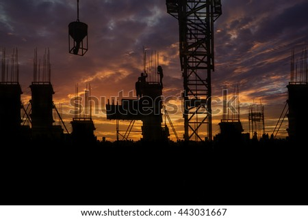 Silhouette Construction with workers and building background - stock photo