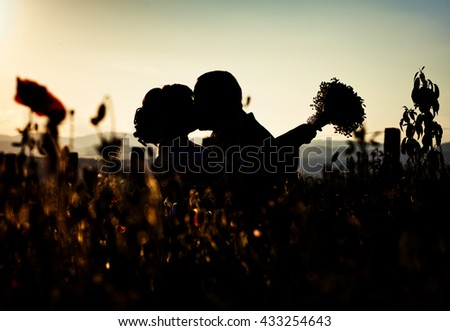 Silhouette couple kissing over sunset background - stock photo