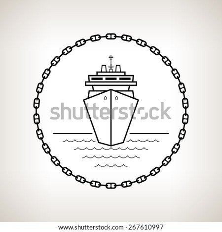 Silhouette cruise ship, contour of the passenger ship or carrier in the circle of the chain on a light background ,  black and white illustration - stock photo