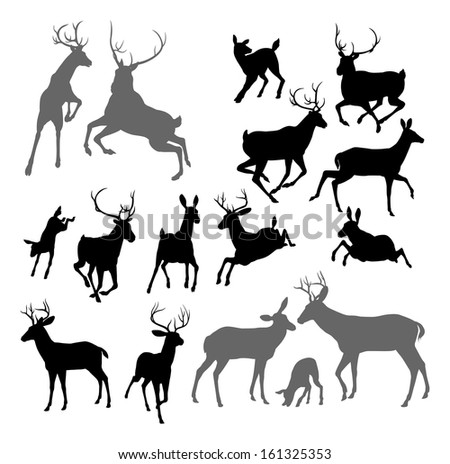 Silhouette Deer including fawn, doe bucks and stag. Also two stags fighting ans a family group set - stock photo