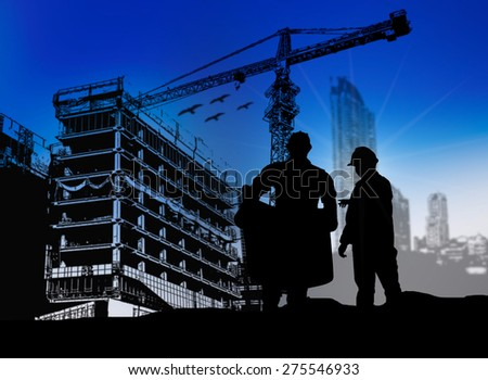 silhouette engineer looking blueprint in a building site over Blurred construction site - stock photo