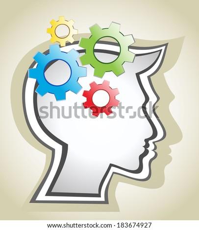 silhouette gear head - stock photo