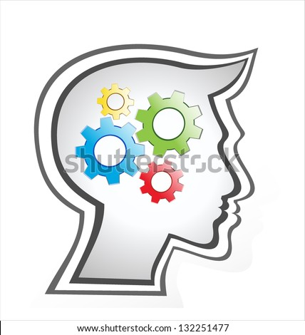silhouette gear head isolated over white background. - stock photo