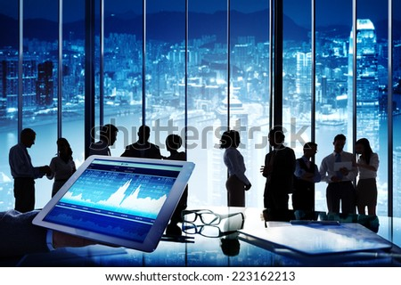 Silhouette Group of Business People Discussion Stock Exchange - stock photo