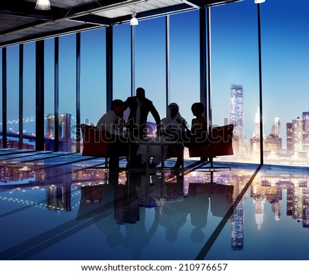 Silhouette Group of Business People Meeting - stock photo