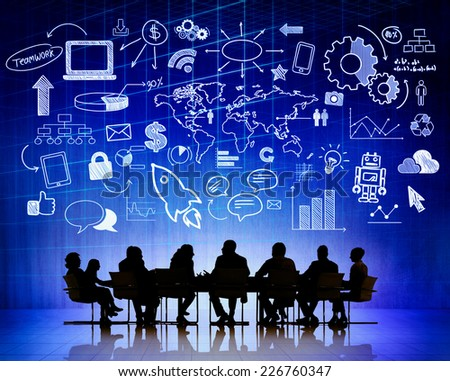 Silhouette Group of People Meeting Global Business Concept - stock photo