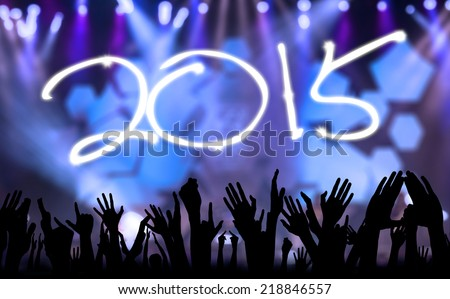 Silhouette hands raised-up to celebrate new year party - stock photo