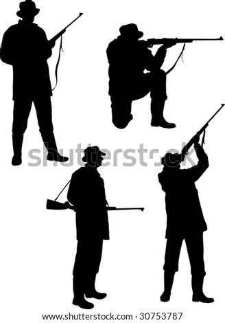 silhouette hunters on white background - stock photo