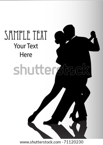 silhouette illustration of a couple dancing - stock photo