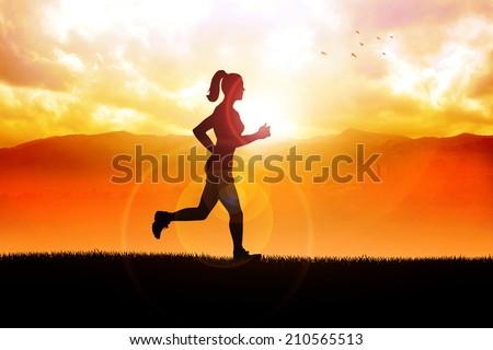 Silhouette illustration of a female figure were jogging in the beautiful landscape - stock photo