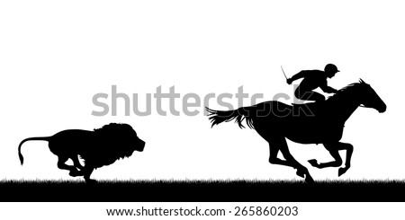 Silhouette illustration of a male lion chasing a horse and jockey - stock photo