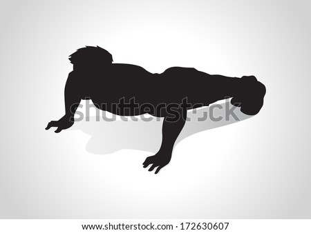 Silhouette illustration of a man figure doing push ups - stock photo