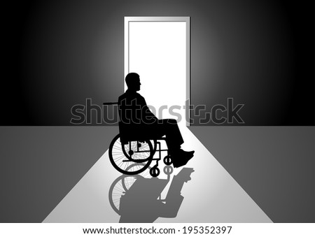 Silhouette illustration of a person on a wheelchair - stock photo