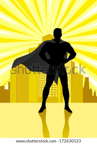 Silhouette illustration of a superhero standing in front of cityscape - stock photo