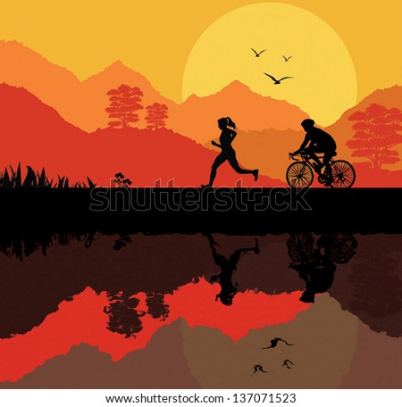 silhouette Illustration of a women jogging and a man cycling by the lake during sunset - stock photo