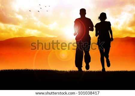 Silhouette illustration of couples jogging in the morning - stock photo