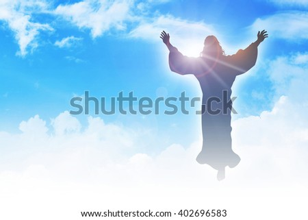 Silhouette illustration of the ascension of Jesus Christ - stock photo