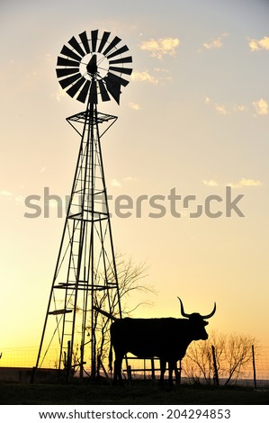 Silhouette image of Texas Longhorn and windmill in sunset - stock photo