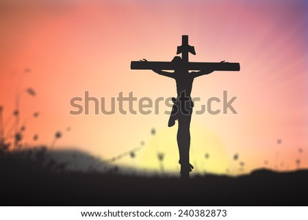 Silhouette Jesus and the cross over blurred sunset background. Worship, Forgiveness, Mercy, Humble, Evangelical, Hallelujah, Thankful, Praise, Redeemer, Redemption, Conciliation, Amen, Trust concept. - stock photo