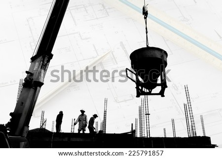 silhouette labor working in construction site  - stock photo