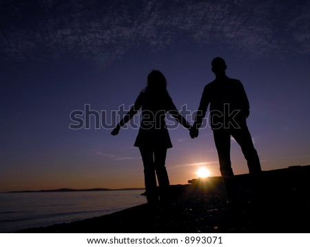 Silhouette Lovers - stock photo