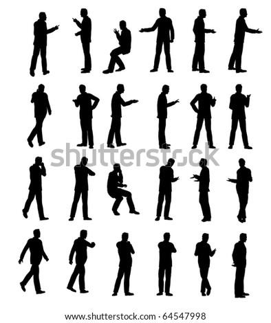 Silhouette man business - stock photo