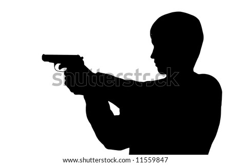 Silhouette man with a pistol - stock photo