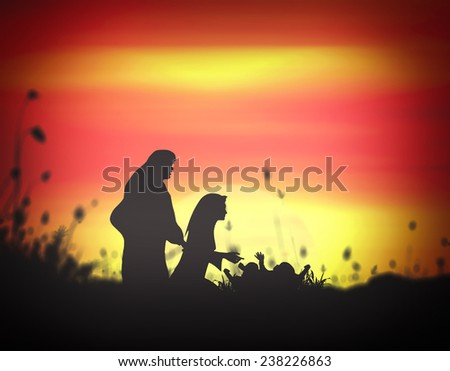 Silhouette Mary, Joseph and Jesus in the manger in Bethlehem on Christmas Eve. Glory to God in the highest, and on earth peace among those with whom he is pleased concept. - stock photo