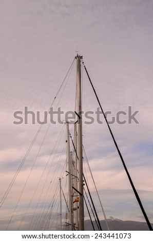 Silhouette Masts of Sail Yacht in a Marine - stock photo