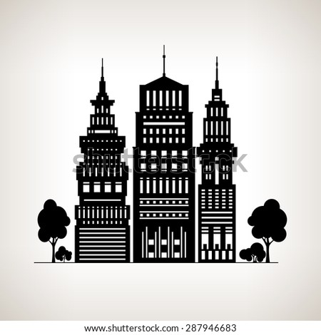 Silhouette Modern Big City with Buildings and Skyscraper, Architecture Megapolis, City Financial Center on a Light Background , Black and White  Illustration - stock photo