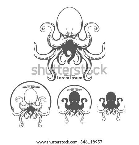 silhouette octopus, for logo, mascot, ocean life concept, simple illustration, sea monster, kraken - stock photo