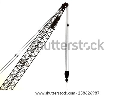 Silhouette od crane isolated on white background - stock photo