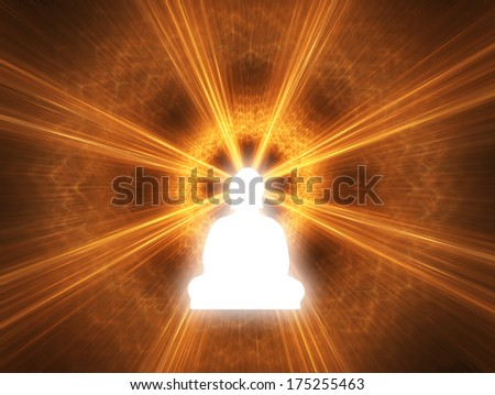 Silhouette of a Buddha with a white glow. Digitally Generated Image. - stock photo