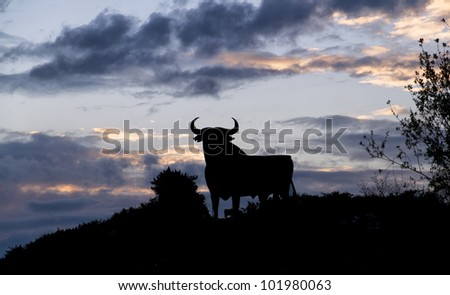 silhouette of a bull in the field in Spain - stock photo