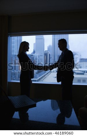 Silhouette of a businessman and businesswoman shaking hands. The city can be seen through the window in the background. Vertical shot. - stock photo