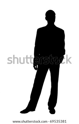 silhouette of a businessman in a suit - stock photo