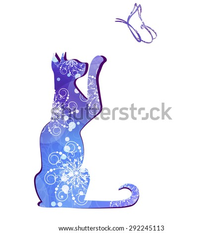 Silhouette of a cat and a butterfly pattern. - stock photo