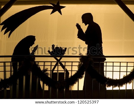 Silhouette of a Christmas Crib - stock photo