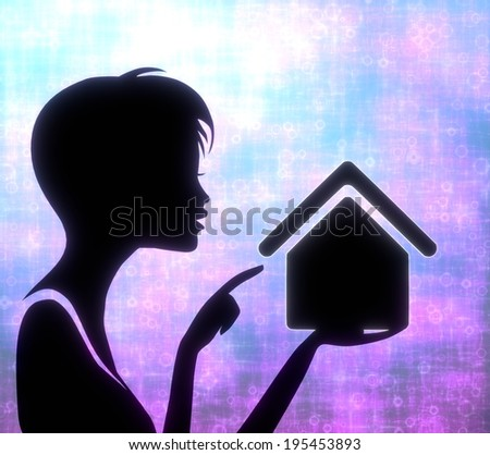 silhouette of a creative girl presenting a glaring building on modern fresh pink blue background - stock photo