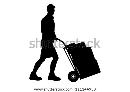 Silhouette of a delivery man pushing a cart with boxes isolated on white background - stock photo