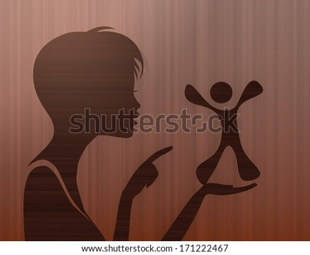 silhouette of a funny woman presenting a happy character on stylish background with brown lines - stock photo