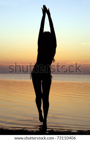 Silhouette of a girl standing in water - stock photo