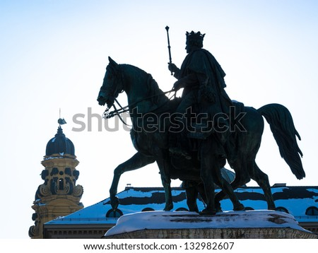 silhouette of a historic statue - ludwig I. at the leopoldstrasse in munich - stock photo