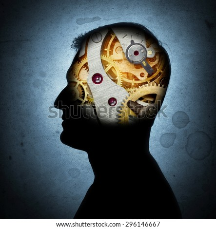Silhouette of a human head with gears in place of the brain. Retro style. - stock photo