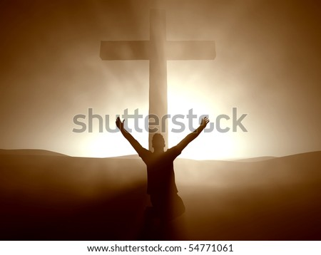 Silhouette of a man at the Cross of Jesus. - stock photo