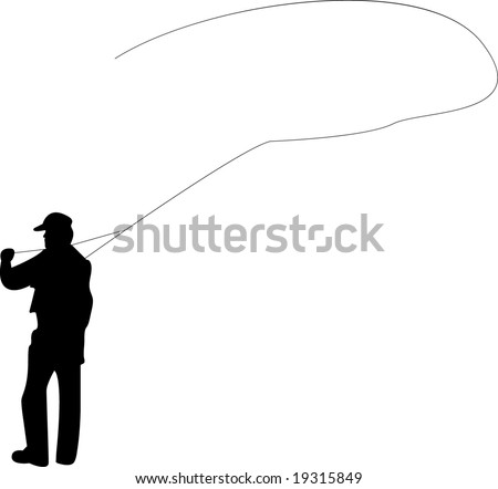 Silhouette of a man fly-fishing - stock photo